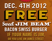 Red Robin - Free Jim Beam Burger if Your Name is Jim - Today Only!