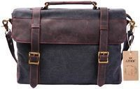 S Zone Canvas Leather Messenger Briefcase Laptop Bag