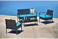 Thy-Hom 4 Piece Wicker Seating Group with Cushion