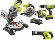 Ryobi ONE+ 18V Lithium-Ion Cordless Combo Kit with Miter Saw