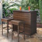 3-Pc. Wicker Bar Set w/ 2 Stools - Rattan Furniture