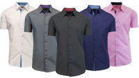 Galaxy by Harvic Men's Cotton Button-Down Shirt - 7 Colors