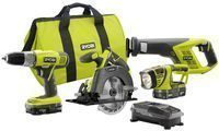Ryobi 18-volt One+ Lithium-Ion Super Combo 4-Piece Kit