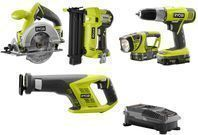 5-Took Kit: Ryobi P1882 ONE+ Lithium Ion Cordless Combo Kit