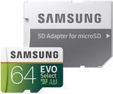 64GB Samsung EVO Select U3 microSDXC Memory Card w/ Adapter